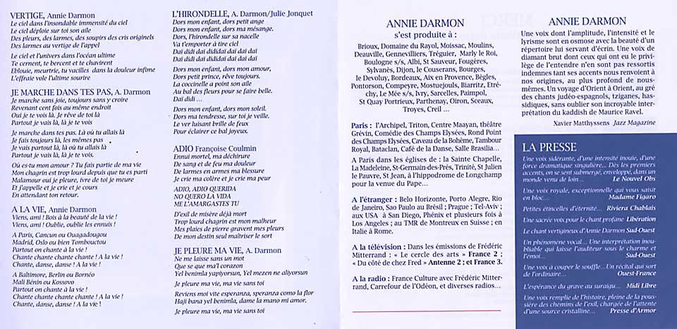 livret disque Annie Darmon Vertiges